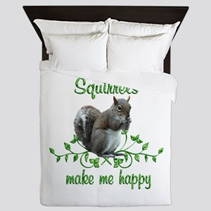 Squirrels Make Me Happy Queen Duvet