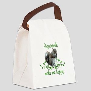 Squirrels Make Me Happy Canvas Lunch Bag
