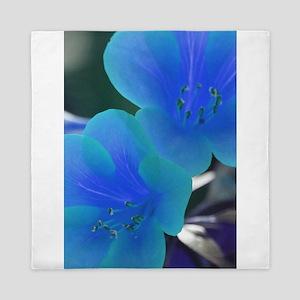 Tropical Flowers Blue Queen Duvet