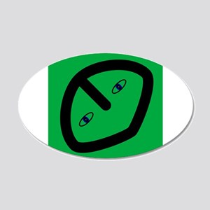 Alien on Green 20x12 Oval Wall Decal