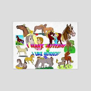 i have autism n like horses2300 5'x7'Area Rug