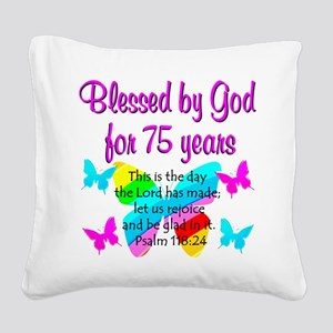 75 YR OLD ANGEL Square Canvas Pillow