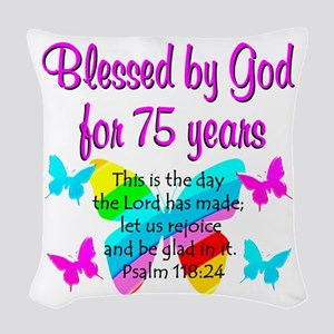 75 YR OLD ANGEL Woven Throw Pillow