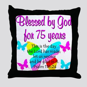 75 YR OLD ANGEL Throw Pillow