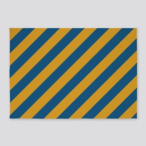 Blue and Gold Striped 5'x7'Area Rug