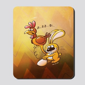 Easter Bunny Stealing an Egg from a Hen Mousepad