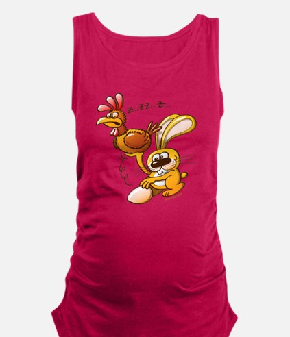 Easter Bunny Stealing an Egg fr Maternity Tank Top
