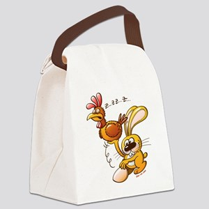 Easter Bunny Stealing an Egg from Canvas Lunch Bag