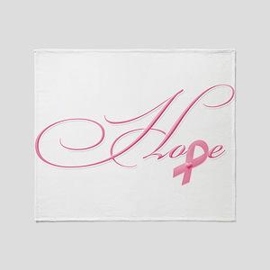 Hope - Pink Ribbon Breast Cancer Awa Throw Blanket