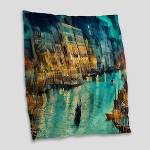 Venice Painting Burlap Throw Pillow
