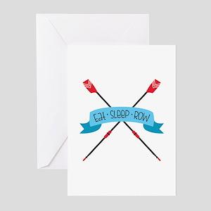 Eat Sleep Row Greeting Cards