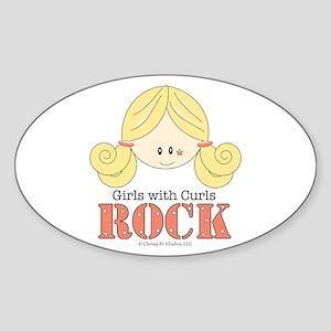 Girls with Curls Rock Oval Sticker