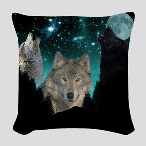 Wolves Twilight Woven Throw Pillow