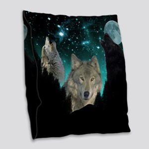 Wolves Twilight Burlap Throw Pillow