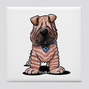 Shar Pei Caricature Tile Coaster