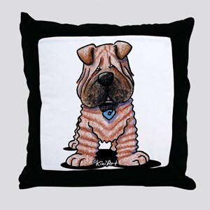 Shar Pei Caricature Throw Pillow