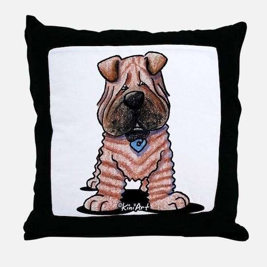 Shar Pei Caricature Throw Pillow