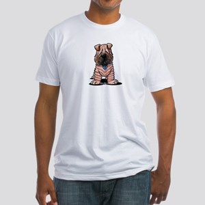 Shar Pei Caricature Fitted T-Shirt