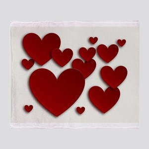 Red Three Dimensional Hearts Throw Blanket