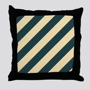 Green and Cream Striped Throw Pillow