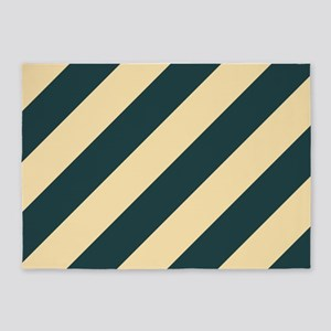 Green and Cream Striped 5'x7'Area Rug