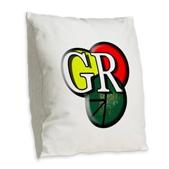 Gr Logo Burlap Throw Pillow