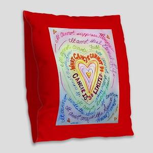 Rainbow Heart Cancer Burlap Throw Pillow