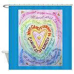 Rainbow Heart Cancer Shower Curtain