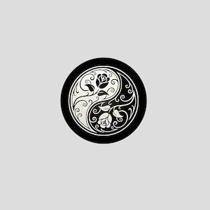 White and Black Yin Yang Roses Mini Button