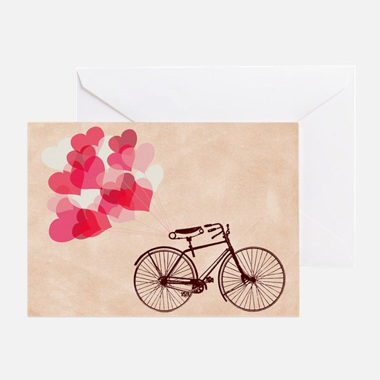 Heart-Shaped Balloons and Bicycle Greeting Cards
