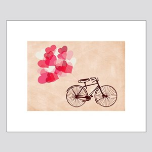 Heart-Shaped Balloons and Bicycle Mini Poster