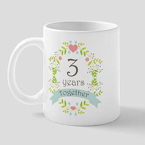 3rd Anniversary flowers and hearts Mug