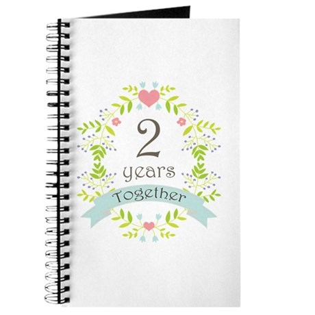 2nd Anniversary flowers and hearts Journal