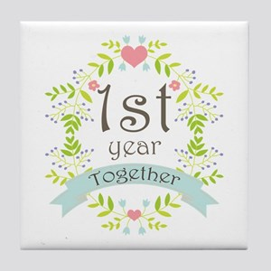 1st Year Marriage Tile Coaster