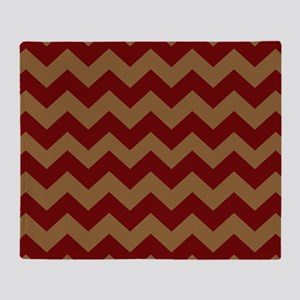 Red and Brown Chevron Throw Blanket