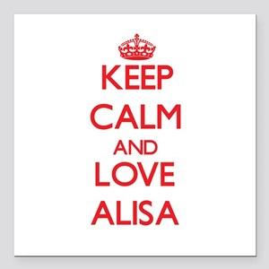 "Keep Calm and Love Alisa Square Car Magnet 3"" x 3"""