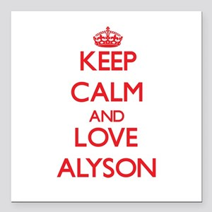 "Keep Calm and Love Alyson Square Car Magnet 3"" x 3"