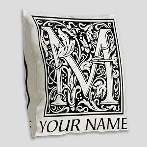 Custom Decorative Letter M Burlap Throw Pillow