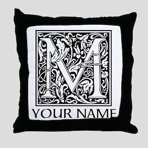Custom Decorative Letter M Throw Pillow