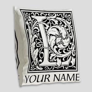 Custom Decorative Letter L Burlap Throw Pillow