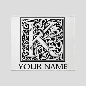 Custom Decorative Letter K Throw Blanket
