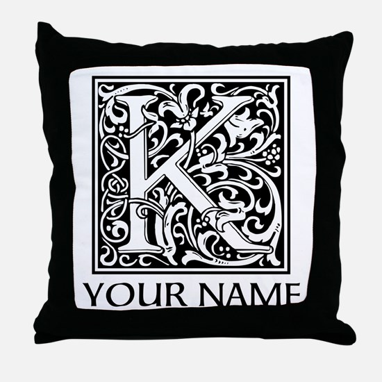 Custom Decorative Letter K Throw Pillow