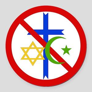 No Religion Round Car Magnet