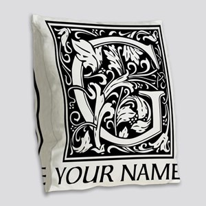 Custom Decorative Letter G Burlap Throw Pillow