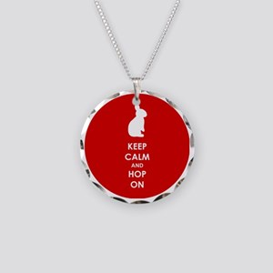 Keep Calm and Hop On Necklace Circle Charm