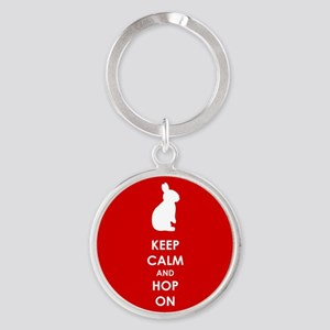 Keep Calm and Hop On Round Keychain
