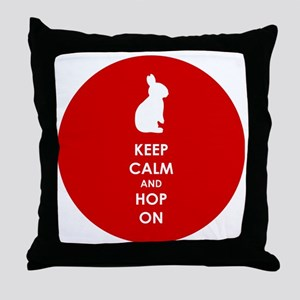 Keep Calm and Hop On Throw Pillow