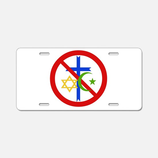 No Religion Aluminum License Plate