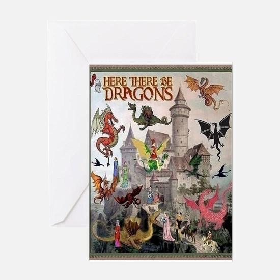 There Be Dragons Card Greeting Cards