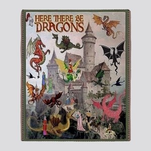 There Be Dragons Throw Blanket